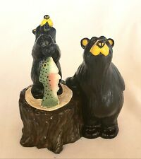 Bearfoots Jeff Fleming's Kritter Hollows Bears with Fish Tree Trunk Trinket