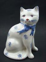 Rye Pottery England Cat Figurine Handmade White Blue Daisy Flower Kitty Large