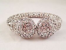 Clear Crystal Rhinestone Silver Tone Hinged Fashion Bangle Cuff Bracelet