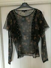 BNWT NEXT SZ 14 BLACK FLORAL STUDDED SHEER TOP BLOUSE NEW WITH TAGS XMAS PARTY