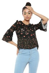 Girls Women Round Neck prints 3/4 Sleeves Floral T shirt Top Blouse Size 4 to.10