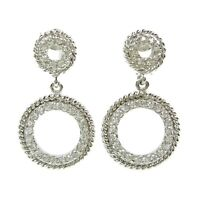 925 Sterling Silver CZ Cubic Crystal Circle Dangle Drop Earring Post