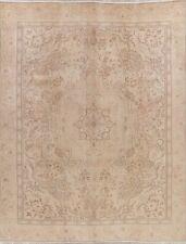 Muted Semi-Antique Floral Tebriz Area Rug Distressed Handmade Wool Carpet 9'x12'