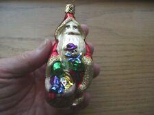 Vintage Old World Christmas Ornament, Santa With Basket, Mercury Blown Glass