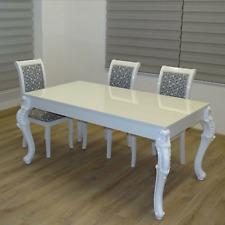 Esstisch im Barock Stil 160 x 90 cm Lack KRATZFEST Hochglanz weiß Speisetisch