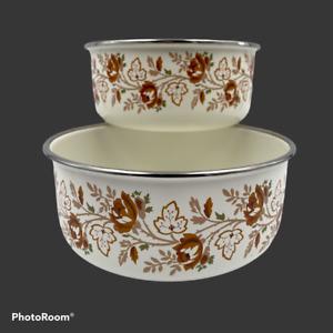 Vintage Kobe Enamelware Bowl set Brown Floral Print