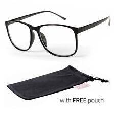 Large Oversized Vintage Glasses Clear Lens Thin Frame Nerd Glasses Retro POUCH