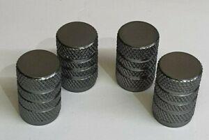 4 x Metal Dust Caps/Valve Protectors in Gun Metal Grey