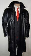 "RUFFO Italy Black Luxury Soft Leather 3/4 Length OVERCOAT Jacket 42"" & 46"""