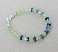 Top Iolith +Olivin-Peridot Armband Linsen,17 m,,Silber,5mm (An-49)