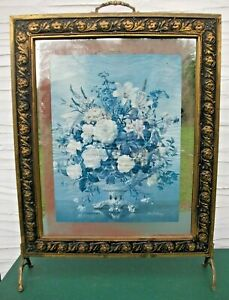 Vintage Brass & Glass Fire Screen with Floral Print.