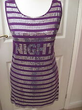 New Morgan purple top disco silver sequins size small sleeveless stretch fabric
