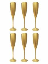 6 Champagne Wine Flute Glass Flutes Glasses Gold Reusable Xmas Gift Party Dinner