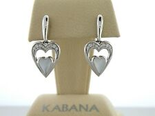 Authentic Kabana 14k White Gold, White Mother Pearl Heart Earrings Diamond Trim