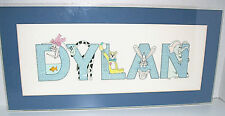 Dylan Baby Room Animals Wall Hanging Matted in Acrylic Frame 8 x 17