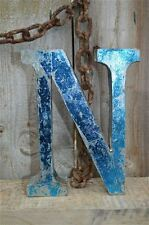 MEDIUM VINTAGE STYLE 3D BLUE N SHOP SIGN LETTER TIN WALL ART LETTER FONT