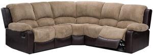 Bradley Beige & Brown Fabric & Leather Recliner Corner Sofa