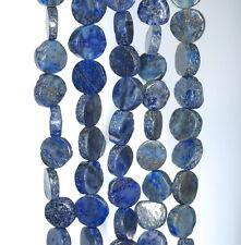 "6X6-10X10MM  LAPIS LAZULI GEMSTONE BLUE FLAT ROUND NUGGET LOOSE BEADS 14"""