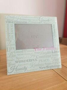Family Photo Frame Picture Landscape 4 x 6 Modern Glass Word Cloud Soft Green