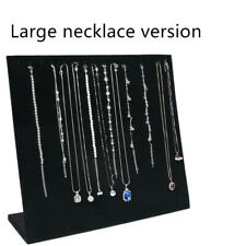 33cm L Shape Black Velvet Jewelry Necklace Pendant Display Holder Rack 16 Hooks
