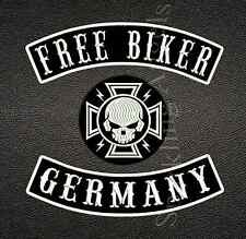 Free Biker Rückenaufnäher Set (3  Teile)Aufnäher Patch.