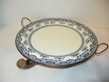 ANTIQUE CERAMIC & COPPER HEATED WARMING PLATE BLUE & WHITE ENGLAND 1890-1900