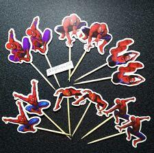 12 X Pastel Picks/Cupcake Toppers Spiderman Chicos Cumpleaños Decoraciones superhéroes 5