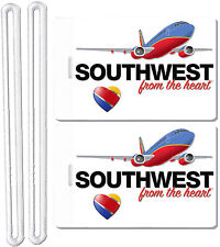 2x Southwest Airlines Luggage Baggage Suitcase Travel Trip Name ID Label Tags