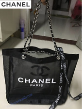 New CHANEL VIP Gift Black Mesh Shopping Travel Tote bag Leather Silver Chain