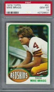 1976 Topps football card #91 Mike Bragg, Washington Redskins graded PSA 10 tuff!