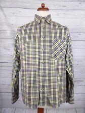Vtg L-Sleeve Check Poly Fleece Shirt -M Oversize- CU78