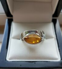 925 STERLING SILVER WOMENS AMBER SOLITAIRE RING  - SIZE Q - 3.3g NOT SCRAP