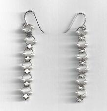 Pearl Rhinestone Simulated Drop Dangle Earrings Silver Tone
