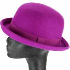 PINK BOWLER HAT 100% WOOL CLASSIC STYLE LADIES DERBY HEADWEAR