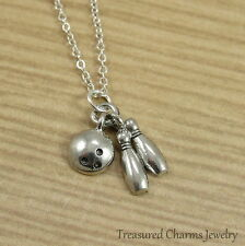 Silver Bowling Charm Necklace - Bowling Pins Ball Pendant Jewelry NEW