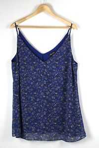 CITY CHIC Cami Top Sz XS 14 Blue Print Sheer Overlay Lined Camisole Strappy Tank