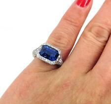 Vintage 3.68ct Emerald Cut Ceylon Sapphire 1.50ct Diamond Filigree Platinum Ring