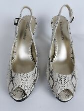 Laura Ashley Peeptoe Animal Print Leopard White High Heel Slingback Sz 10 Shoes