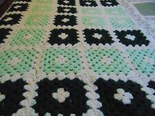 "Afghan Handmade Craft Crochet Throw Blanket Afghan Green 64""x 50"""