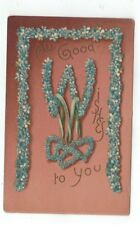 Antique 1913 Good Wishes Embossed post card Blue Forget-Me-Nots