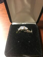 Womens 3 Heart Faux Diamond Ring Size 5 New with Tags Silver