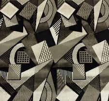 "LARSEN TOSHIBI BLACK WHITE GEOMETRIC VELVET UPHOLSTERY FABRIC 2 YARDS 51""W"