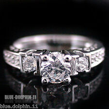 Genuine Real Solid 9k White Gold Engagement Wedding Band Ring Simulated Diamond