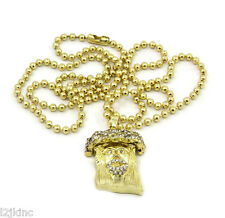 Jesus Piece Charm Micro Pendant Ball Chain Necklace Jewelry Gold Plated Iced Out