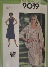9039 VINTAGE Simplicity SEWING Pattern Misses Dress Unlined Jacket Tie belt OOP