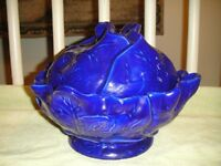 Vintage Blue Cabbage Lidded Serving Bowl Signed Damby 1975 Large 4.6 LB Cabbage