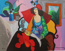 Itzchak Tarkay RED HAT Hand Signed Limited Edition Serigraph