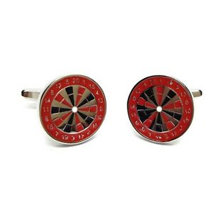 Red and Black Dartboard Sport Cufflinks X2CN928