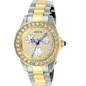 Invicta Angel 28458 Women's Round Two-Tone Pave Analog Multifunction Watch