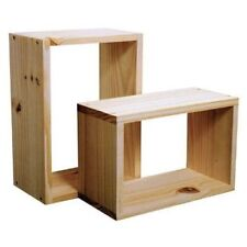 SET OF 2 NATURAL WOOD WOODEN WALL CUBE CUBES SHELVES STORAGE UNIT NEW